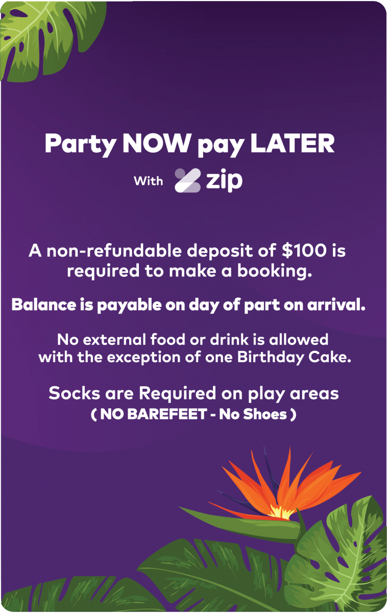 ZipPay for party packages